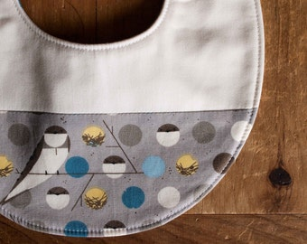 Organic Baby Bib in BANK SWALLOW, New Baby Woodland Bird Bib Gift by Organic Quilt Company