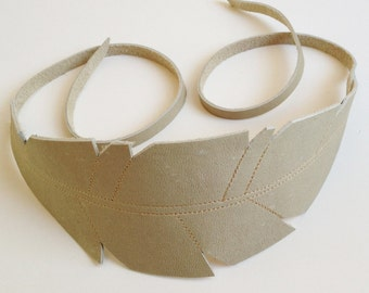 Feather Headband - Speckled Egg - Upcycled Leather