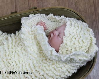 CROCHET PATTERN For Baby Ruffled Cocoon, Papoose &  Hat PDF 127  Digital Download