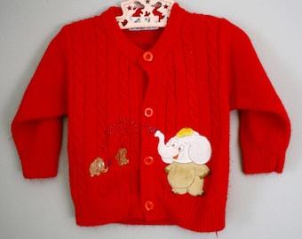 Vintage Red Cardigan Elephant Applique Sweater Sz 18-24 month