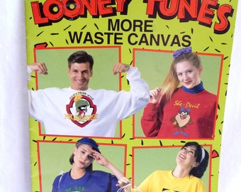 Looney Tunes, More Waste Canvas, Leisure Arts, Tweety Bird, Sylvester the Cat, Bugs Bunny, Road Runner, Daffy Duck, Sewing supplies,Patterns