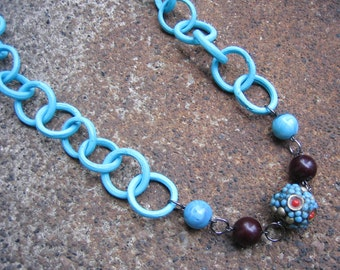 Eco-Friendly Statement Necklace - Island Time - Recycled Vintage Metal and Painted Wood Chain with Glass Beads in Aqua, Coral and Dark Brown