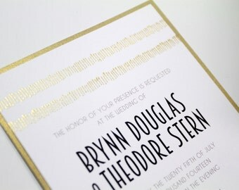 Modern Gold Shimmer Wedding Invitations, Gold Fringe, Embossed Wedding Invites, Modern Invites, Gold and Black Wedding, Art Deco, Weddings