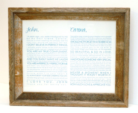 Wedding Vow Gifts: FRAMED Wedding Vow Art Valentine Gift One Year By