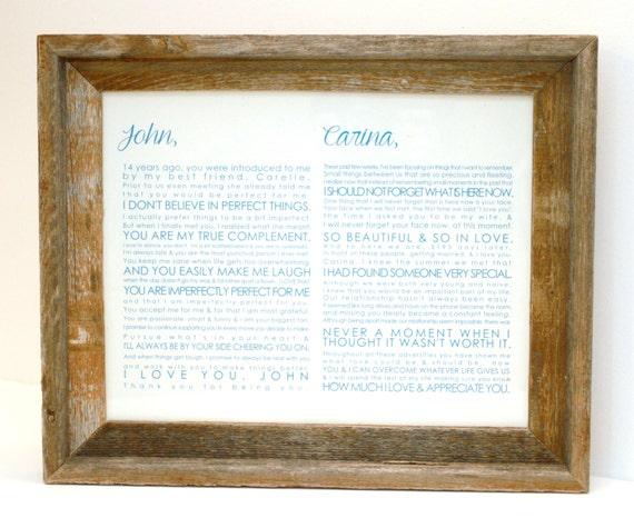 Wedding Vows Gift: FRAMED Wedding Vow Art Valentine Gift One Year By