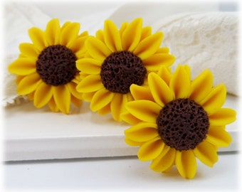 Yellow Sunflower Hair Pins - Yellow Sunflower Hair Clips, Small Sunflowers for Hair, Sunflower Bobby Pins, Yellow Sunflower Hair Accessories