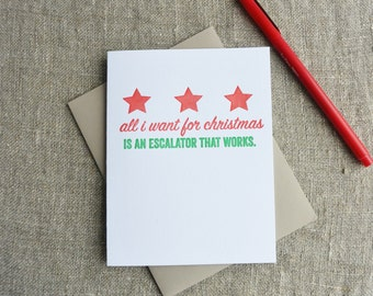 Letterpress Christmas Card - Local Love DC Escalator