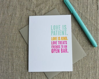 Letterpress Greeting Card - Wedding and Engagement Card - Thinking Out Loud - Open Bar - 111-014
