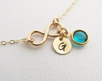 ON SALE Monogram Infinity Necklace & Birthstone, Friendship Sister Necklace,Tiny Swarovski Birthstone Charm, Gold or Silver, Personalized Ne