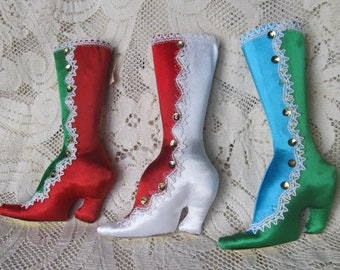 Vintage Lot Of 3 Victorian Style Christmas High Top Boot Ornaments