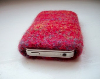 Cell phone cozy felted wool fun unisex red by SpinningStreak