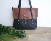 Farrier Carry All Bag // Large Leather Tote / Flap Bag / Black Leather Tote / Leather Carryall