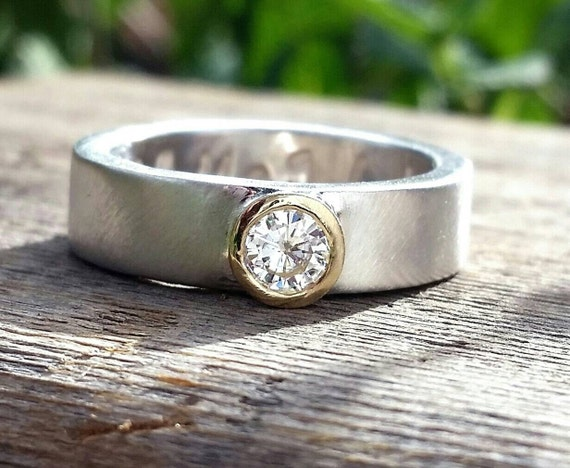 Moissanite Diamond Wedding or Engagement Ring Band - 14k Gold w/Palladium Silver Ring- Custom Engraved Personalized Ring- Forever Brilliant