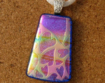 Dichroic Heart Pendant - Dichroic Jewelry - Fused Glass Pendant - Fused Glass Jewelry