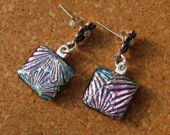 Dichroic Earrings - Fused Glass Earrings - Glass Earrings  - Post Earrings