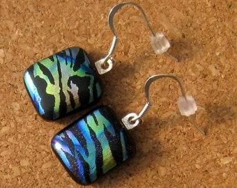 Dichroic Earrings - Fused Glass Earrings - Glass Earrings - Dichroic Jewelry - Fused Glass Jewelry - Animal Print