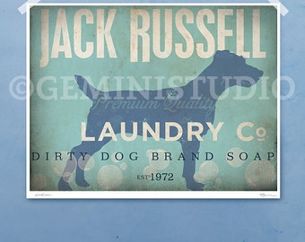 Jack Russell dog laundry company laundry room artwork giclee archival signed artists print by Stephen Fowler Pick A Size
