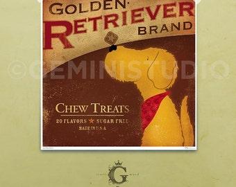 Golden Retriever Brand dog treats illustration giclee print by Stephen Fowler