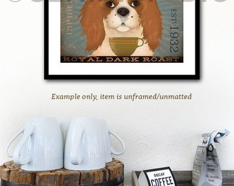 Cavalier King Charles dog Coffee Company graphic art giclee signed artists print