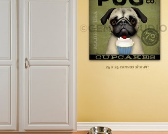 PUG Cupcake Company dog illustration graphic artwork on gallery wrapped canvas by stephen fowler