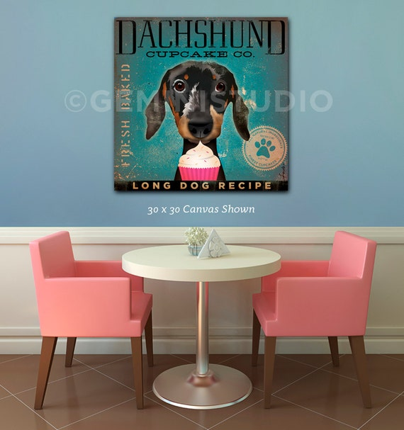 Dachshund Cupcake Company dog illustration gallery wrap on gallery wrapped canvas by Stephen Fowler