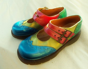 Dr Martens MAry JAne Wingtips, Dr Marten Custom PAinted  Mary Janes ,double buckle straps sz UK 5 , Mens US 6, LAdy US 7