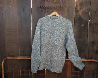 Vintage 50s tweed Sweater Black and White Sweater wool pullover Wide ribbing sweater Lumberjack sweater crew neck pullover M L