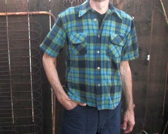 Vintage Blue Wool Plaid Shirt Moss Green 60s Plaid wool vintage Shirt Short sleeves S M