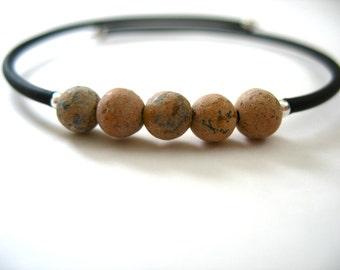 Grainstone Bracelet, Grainstone Cuff Bracelet, Handmade Grainstone Bracelet, Gemstone Jewelry