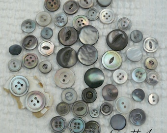 Vintage Assortment of Smoky Gray Genuine Mother of Pearl Shell Buttons - 50 small to medium sized - gorgeous luster