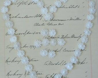 Vintage Applique Venise Trim - Mini White Flowers -  22 Inches Plus