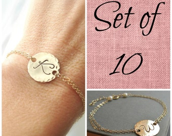 Ten 10 bridesmaids bracelets, custom gold initial bracelet, personalized bridesmaids jewelry, sterling silver or gold filled bridesmaid gift