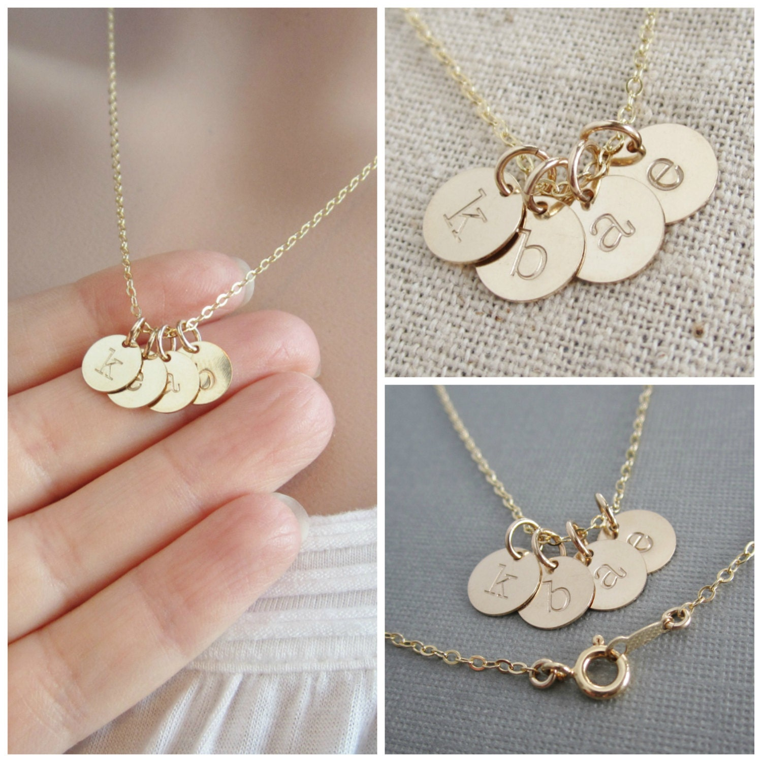 tiny gold initial necklace mothers necklace grandma. Black Bedroom Furniture Sets. Home Design Ideas