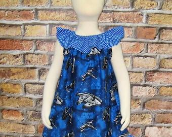 Blue Polka Dots Dress Made with Star War Fabric, Girl Summer Dress, Girl Dress, Back To school Dress, Ruffle Neck Dress, Toddler Dress