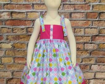Hot Pink and Blue Summer Dress, Girl Dress, Church Dress, Pink Dress, Size 6M to 8