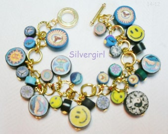 Colorful Fun and Funky Polymer Clay Hippie Silver Plate Bracelet