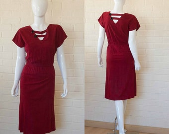 80s Vintage Crimson NEW WAVE Velour Cut out  Secretary Day Dress S to M
