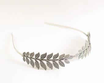 Leaf crown bridal headpiece fern antique silver goddess headband neoclassical nature leaves grecian roman romantic wedding hair