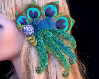 Peacock Bride Hair Barrette with Blue Rhinestone Cluster - Ready to Ship