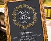wedding seating sign, black and gold wedding decor, printable wedding sign, choose a seat sign, welcome wedding sign, chalkboard sign