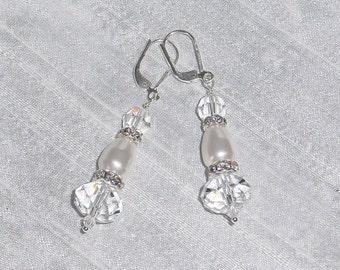 Crystal n Pearl Bridal Earrings Sterling Silver  Dangle