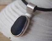 Dockside...blue sea glass necklace