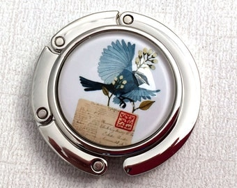 Purse Hook - Blue Bird with Letter Photoglass Cabochon