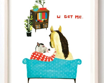 Art, Humor, Horse, Vintage, Poster, Animals, Animal mask, Couple, Love, Vintage TV, Animal Lover, Quirky, U Get Me- Fine Art Print