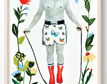 Art, Humor, Words, Vintage, Poster, Boxing, Muhammad Ali, Jump roap, Quirky, flowers, Muhammad Ali- Fine Art Print
