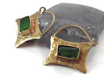 Earring Hoops Green, Two Sided Earrings, Green Glass Earrings, Rectangular Earrings, Gold Green Glass, Cut Glass Earrings, Emerald Earrings