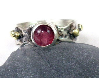 Tourmaline Ring, Pink Tourmaline Ring, Silver Tourmaline Ring, Silver Gold Ring, Stacking Ring, Sterling Stone Ring, Round Tourmaline,