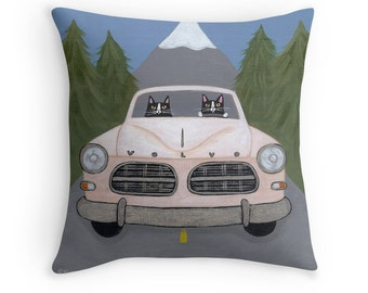 Pacific Northwest Volvo Cats - Folk Art Throw Pillow Cover