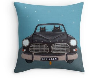 Road Trip Black Volvo Cats - Folk Art Throw Pillow Cover