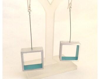 Blue San Antonio Pega Square Medium Earrings